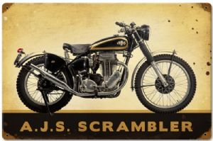 AJS Scrambler rusted steel sign  450mm x 300mm (pst)